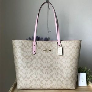 Coach Pink Signature Town Tote